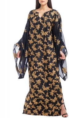 Black Leaves Patterned Volume Sleeves Kaftan