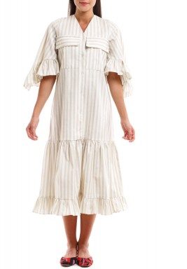 Beige Striped Ruffled Dress