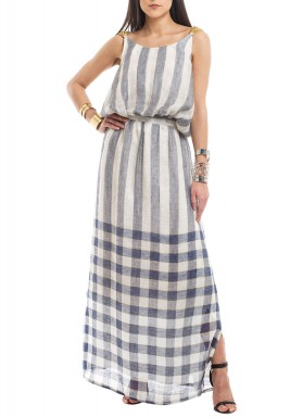 Blue Checked Metallic Straps Kaftan