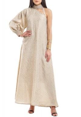 Beige Embellished Choker One Sleeve Dress