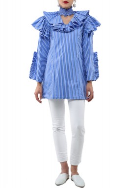Blue Ruffled Choker Neck Shirt