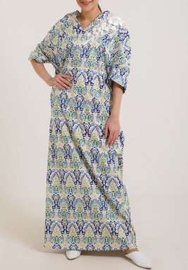 Blue back bow kaftan