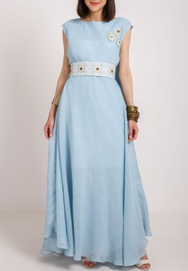 Blue Embroidered Belted Kaftan