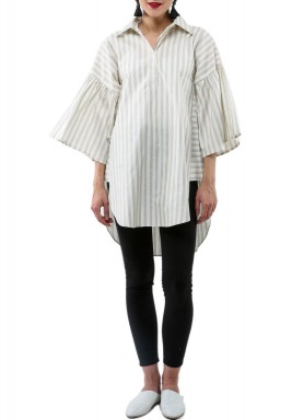 Beige Striped 3/4th Sleeves