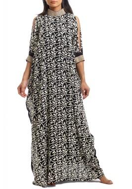 Black Leaf Print Choker Dress