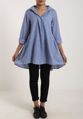 Dark Blue Checkered Oversized Shirt