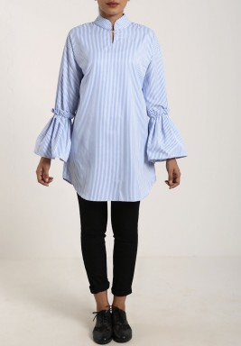 Blue Striped Bell Sleeves Shirt