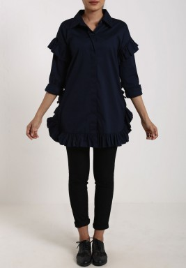 Navy Ruffled Button Through Shirt