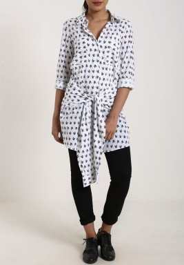 White Arrow Wrap Shirt