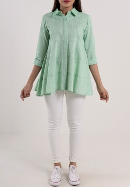 Green Tiered 3/4th Sleeves Shirt