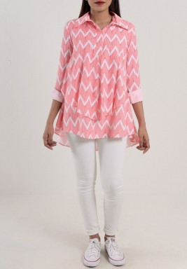 Pink Zigzag Layered Shirt