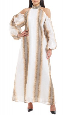 White & Beige Sequined Printed Kaftan