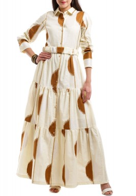 Beige Spotted Tiered Kaftan