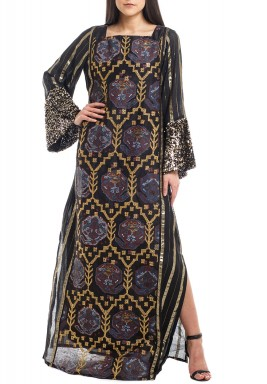 Black Aztec Embroidered Kaftan