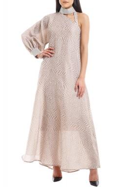Blush Embellished Choker Dress