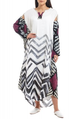Crystal Chopped Sleeves Kaftan