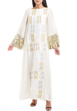 White Sequined Sleeves Kaftan
