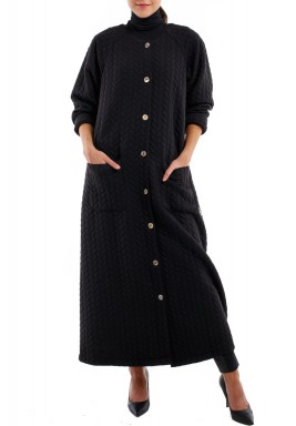 Black jacquard coat