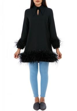 Black Feather Trim Top