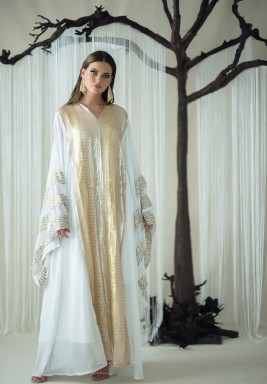 White Sequined Oversized Sleeves Kaftan