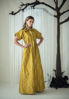 Yellow Mirror short sleeves kaftan