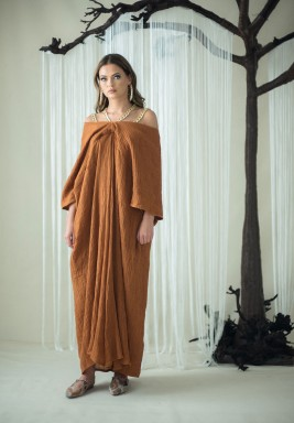 Bronze Chain Straps Off-Shoulders Kaftan