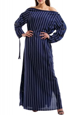 Navy Striped Buttoned Kaftan