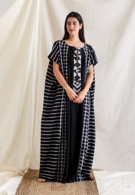 Black Embellished Neckline Kaftan