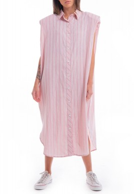 Pastel Pink Padded Shoulders Dress