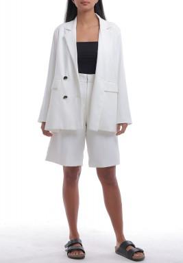 White Blazer & Shorts Set