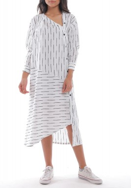White & Black Striped Asymmetric Shirt Dress