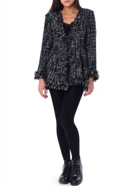 Black Tweed Ruffled Jacket