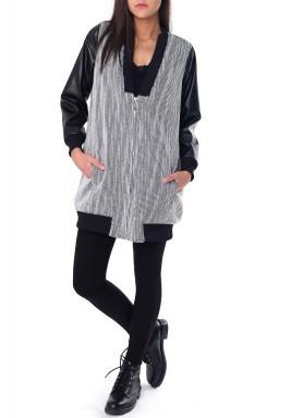 Black & Grey Leather Sleeves Jacket