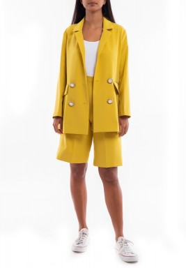Mustard Blazer & Shorts Set