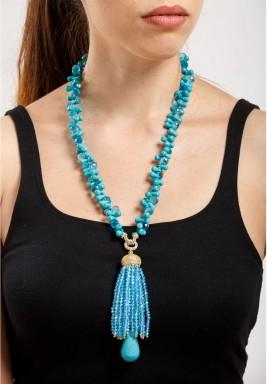 Turquoise & Blue Quartz Necklace