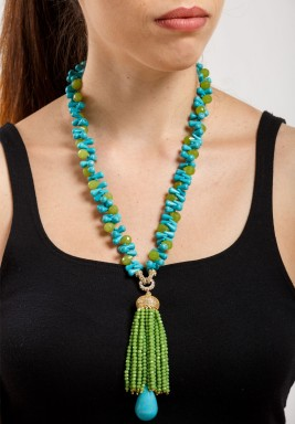 Turquoise & Green Quartz Necklace