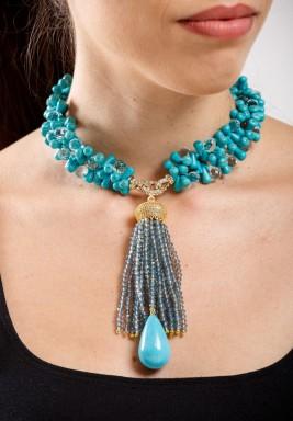 Turquoise & Aqua Quartz Choker