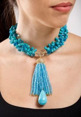 Turquoise & Blue Quartz Choker