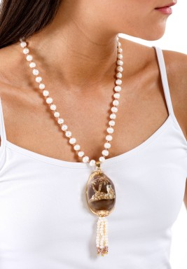 Hand Carved Shell with Pearls & Bronze Crystals Necklace