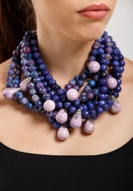 Purple Multi-layered Gemstones Necklace