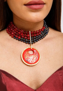 Black Mikimoto with Dark Red Jade Choker