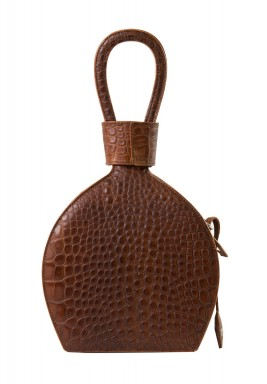 Atena Brown Lizard Bottle Shaped Bag