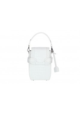 Octavio White Croc Leather Backpack