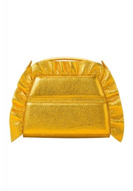 Helena Oro Gold Leather Ruffle Purse