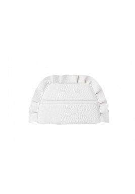 Cherubim White Croc Ruffled Clutch