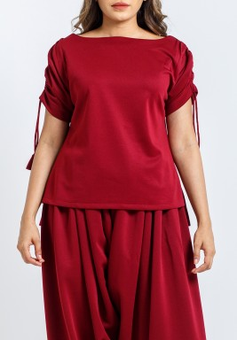 Maroon Short Sleeves Tops