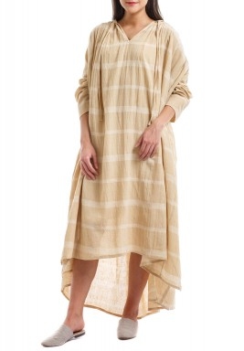 Beige Striped Pleated Kaftan
