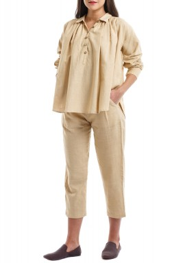Beige Flowy Shirt With Midi Pants Set