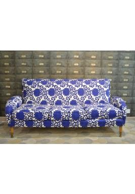 Art Deco Sofa w/ Blue Floral Fabric
