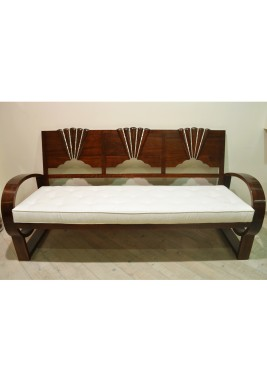 Lotus Sofa with Wood and Mother Of Pearl